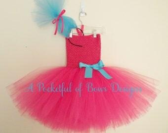 Troll Birthday Outfit Hot Pink Tutu Dress with Troll Hair Headband