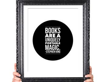 Portable Magic, Stephen King Quote on Reading, Gift for Writer, Gift for Teacher, Gift for Librarian, Literary Gifts, English Major Gift