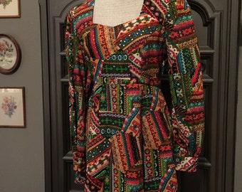70s Wild Print Mini Dress