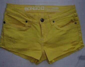 YELLOW Jean Shorts/GAGA Jeans Shorts/Bum Cheek Jean Shorts/ RIPPED Jean Shorts/ Mid Rise Slim Fit /Distressed Street Style Jeans