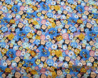 "MICKEY and MINNIE  TSUM "" New Design ""   pattern  1 Yard Piece - 100% Cotton Very Cute Fabric"