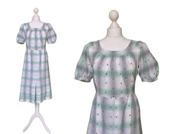 Vintage Summer Dress - UK14 - Grey And Green Midi Dress - Embroidered Cotton Dress - Garden Party Dress