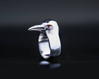raven ring, unique ring, bird mask, bird jewelry, Crow jewelry, crow ring with red granat kristal eyes