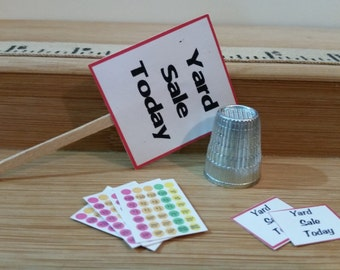 HH-5      Miniature Yard sale sign and extras   for dollhouses,  and more
