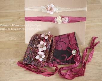 "Newborn Baby Girl ""BARGAIN BUNDLE"" Prop Set: 1 Crochet Hat, 1 Fabric Bonnet & 2 Tieback Headbands. Ready to Ship Photography Props UK Seller"