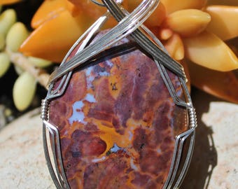 Vaquilla Mexican Agate Stone Pendant, Vaquilla Agate, Argentium Sterling Silver, Wire Wrapped Pendant, Large Stone Handmade Jewelry Necklace