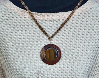 Wooden Pendant with Tiger's Eye