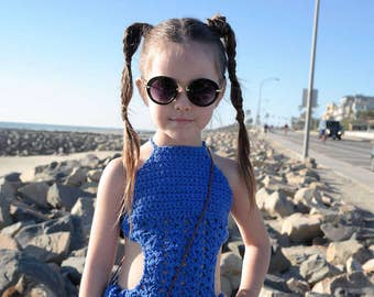 HARLOW custom children's halter style mono-bikini set infant-child sizing. Canadian Made. Boho Kids.  One piece.  Swimwear