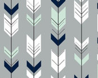 Curtains or Valance in Arrow (mint, navy and white on gray)
