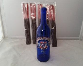 Glass bottle incense holder (Grateful Dead's Rose Septor) w/ 100 incense