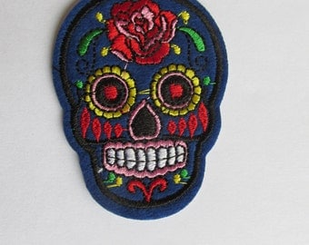 Dark Blue Sugar Skull Patch, Day of the dead patch - iron on or sew on