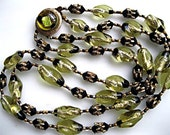 Foiled Glass Choker, Lemon Chartreuse, Black Faceted Wedge Stones, 2-Strand Japan Necklace, Golden Caged Swirled Beads, Fancy Slide Closure