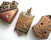 Victorian Fob Locket Charms, Photo Keepsake Antique Lockets, Bracelet Fob Charms Lot, Goldfilled Slide-Out Photo Frame, Memorial Lockets