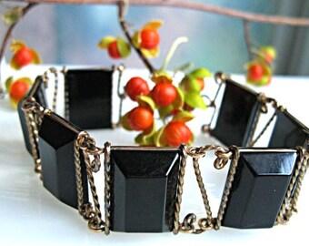 Black Lucite Bracelet, Wire Wrapped Faceted Rectangles, Vintage Deco Style Goldfilled Links, Solder Free Design Art