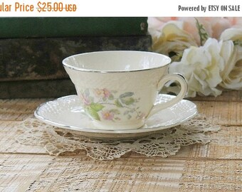 On Sale Mid Century Floral Tea Cup and Saucer Set, Cottage Style, Tea Party, Wedding, Bridesmaid Gift, Antique