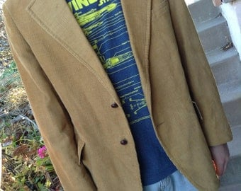 Vintage 70s hipster Carson Pirie & Scott Co. mens brown corduroy sport coat jacket size 44 free domestic shipping