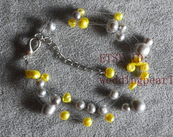 Floating Bracelet,Illusion Gray and yellow mix Bracelet, multi-strand Bracelet,5 strands genuine pearl bracelet, freshwater pearl bracelet