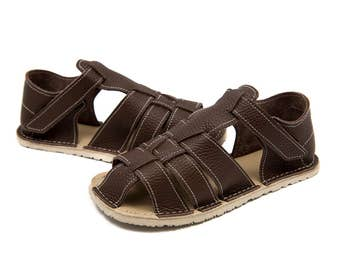 Dark brown Kids Leather Sandals, Vibram sole, support barefoot walking, sizes EU 25/26 to 34 - US 9 to 3 kids