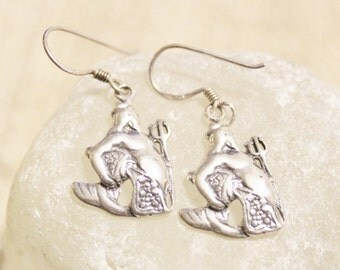 Sterling Silver Aquarius Earrings, Astrology Earrings, January February Jewelry