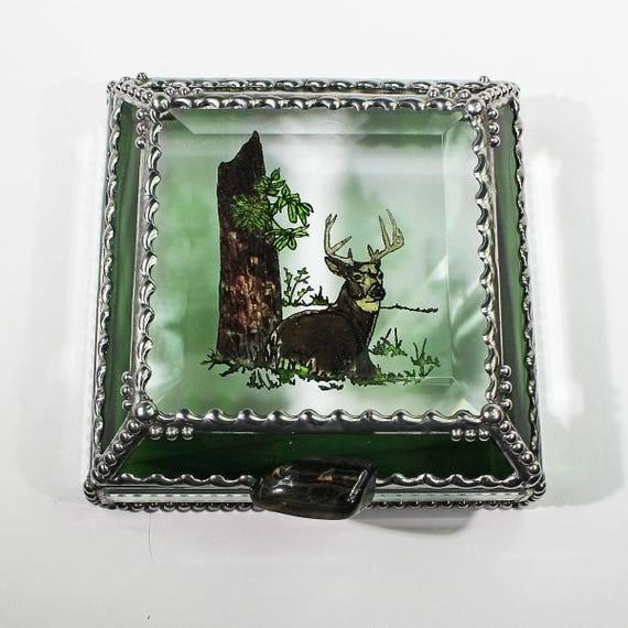 Etched Hand Painted Buck Deer Treasure Box