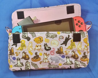 Kitty-Cat Pattern Nintendo Switch Carrying Case - Made to Order