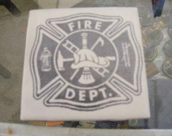 """Laser engraved 4.25"""" x 4.25"""" Square ceramic tile Fire Dept Logo for Coaster or Plaque"""