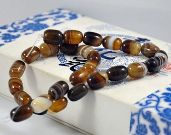 Barrel bead Coffee Color Agate Beads ----- 10mm x14mm ----- 28Beads, Agate beads