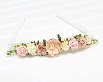 Just Pink About It - beautiful dainty and flower headband in pink, blush, peach, ivory, cream and tan(RTS)