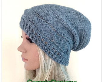 BUY1GET1HALFPRICE Cables unique designer womens teens hand crocheted knitted oversized slouch beanie snood hat grey dread tam winter access