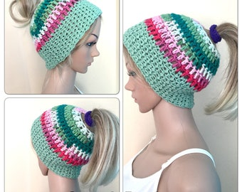 BUY1GET1HALFPRICE moms ponytail messy bun hat unique designer womens teens hand crocheted knitted beanie hat boho tam irish dreads yoga gree