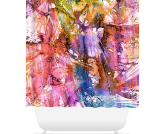 BIRDS OF PREY Rainbow Colorful Art Painting Shower Curtain Washable Home Decor Summer Girly Pink Cheerful Ocean Waves Modern Style Bathroom