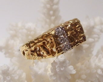 Chunky Modern Filigree Gold Plate Over Sterling Ring Size 9