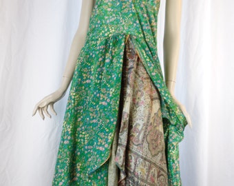 70s BOHO  HIPPIE 2 layer Indian sari silk 2 layer halter dress/ emerald green+ taupe/Music Festival chic: size Medium