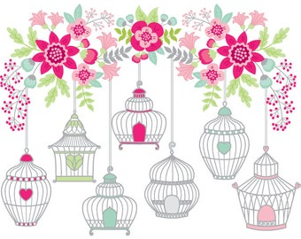 70% OFF SALE Bird Cage Clipart - Digital Vector Bird, Flowers, Summer, Branch, Bird Cages Clip Art