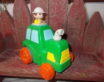 Rolling Toy Tractor And Farmer,Vintage Tractor,Vintage Toys, Vintage Preschool Toy,:)s