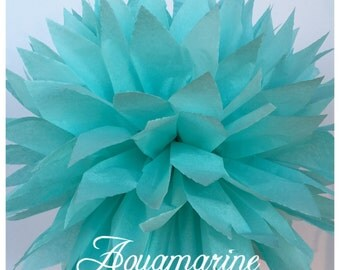 Tissue Paper Pom Poms: Aquamarine -- Or Choose Your Colors-- Baby Shower/ Nursery/ Bedroom/ Party Decorations tissue pom
