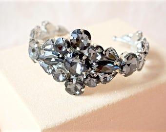 Black Rhinestone Cuff Bracelet,Black Bridal Cuff Bracelet,Black Wedding Cuff Bracelet,Black Crystal Cuff Bracelet,Black Jewelry