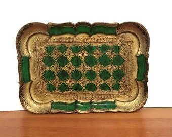 Italian Florentine Gold Gilt and Green Tray, Small Vintage Vanity Tray, Made in Italy, 1960s Old World Decor