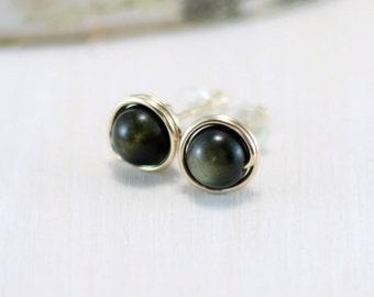 Gold Obsidian Earrings, 14k Gold Filled Obsidian Stud Earrings Yellow Gold Wire Wrapped Natural Stone Post Earrings