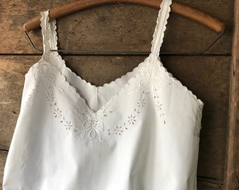Antique French White Linen Chemise Nightgown, Ribbon Bows and Floral Embroidery, French Farmhouse