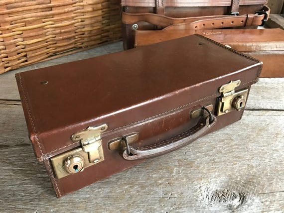 Antique Small English Leather Suitcase, Musical Instrument Case, Storage Case, Brass