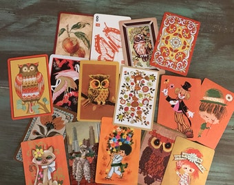 Orange Swap Cards / 16 Vintage Mixed Orange Cards for Altered Arts, Smash Books, Journals, Mixed Media, etc.