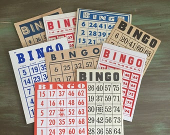 9 Bingo Cards Mixed Red, White , Blue & Tan Bingo Cards Great for Journals, Smash Books, Collage, Mixed Media, Altered Art, etc.