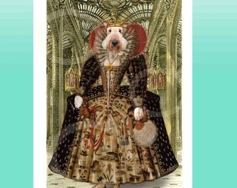 Airedale Terrier as Tudor Queen Elizabeth Giclee Large POSTER Print Wall Picture Anthropomorphic Anthro Art Artwork Dog Bingley Waterside