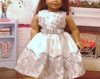 Silver Sparkles Holiday Dress for American Girl Dolls
