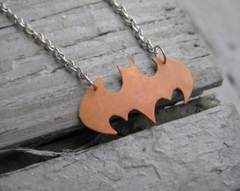 Batman Necklace in Copper and Stainless Steel / Batman Pendant / Bat Necklace / Copper Batman Necklace