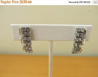 On Sale Baguette and Round Sparkling Rhinestone Earrings Item K # 1799