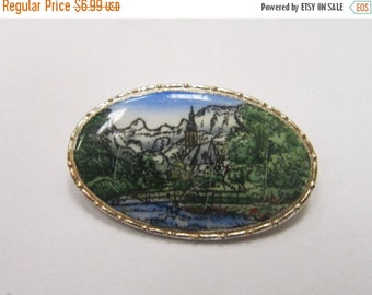 On Sale Vintage Silver Tone Pin with Nature Scene Item K # 2868