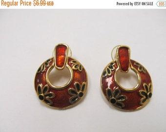 On Sale Retro Enameled Floral Earrings Item K # 2293