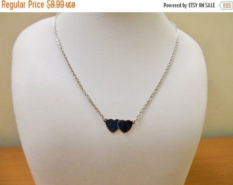 On Sale SARAH COVENTRY Vintage Silver Tone Double Heart Necklace Item K # 1145